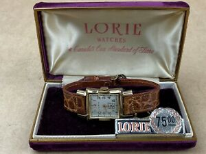 Lorie-Vintage-1950s-rectangular-Swiss-Made-Watch-complete-w-original-Case