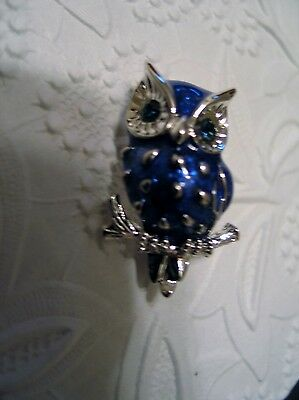 Blue Enamel Owl Figural Pin Brooch Rhinestone Eyes Silver Plate Vintage Jewelry