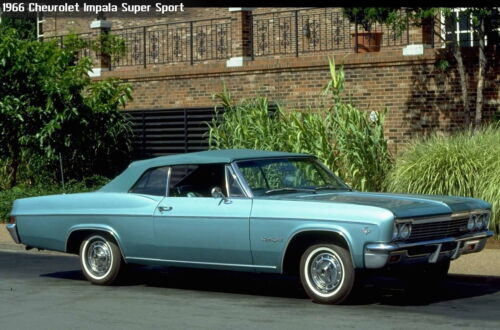 1966 Chevrolet Impala Super Sport convertible blue24 x 36 INCH POSTER