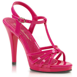 Fabulicious-FLAIR-420-Womens-Sexy-Hot-Pink-T-Strap-Strappy-Stiletto-High-Heels