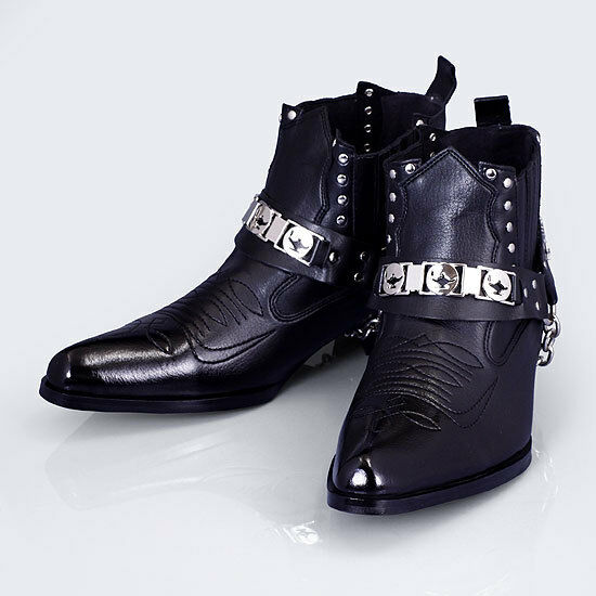 Uomo Faux Pelle Ankle Stivali Western Cowboy Biker Casual Bike Shoes Korea Made