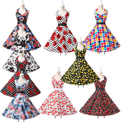Clearance Vintage Rockabilly Swing 50s 60s Pinup Housewife Evening Dresses XS~XL