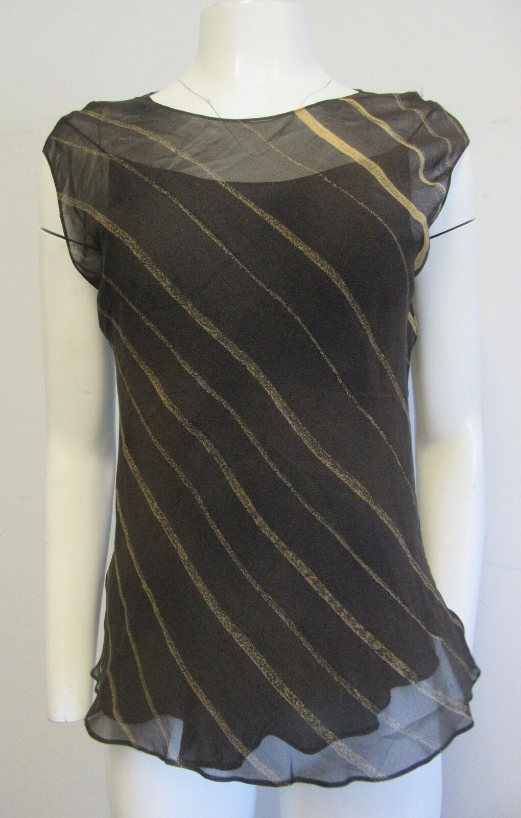 damen KARAN 100% silk sheer braun & tan stripe sleeveless top sz I 44  US 10