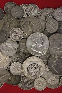 MAKE OFFER 4 Standard Ounces 90/% Silver Mercury /& Roosevelt Dimes Junk Coins