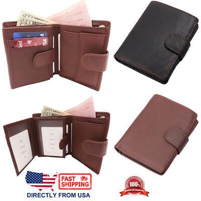 Men/'s RFID Blocking Full Grain Leather 2 ID Windows Spacious Bifold Wallet