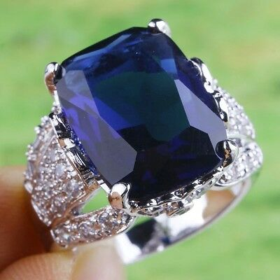 Sales Promotions ! Gift Sapphire Quartz Gemstone Silver Ring Sz 6 7 8 9 10 11