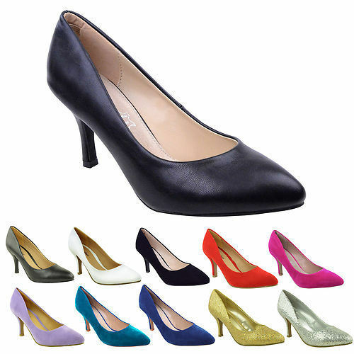 71d154ed877f Womens Ladies Low Mid Kitten Heel PUMPS Pointed Toe Court Work Office Shoes  Size for sale online
