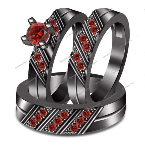 2.00CT Red Garnet Black Gold Over Round Cut Solitaire Engagement Trio Ring Set