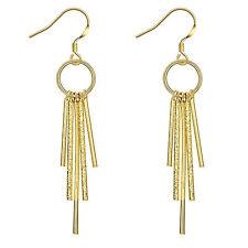 18ct 18K Yellow Gold Filled Textured Bar Long Dangle Drop Earrings NEW UK  -77