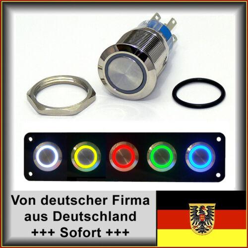 Edelstahl Dichtung+Mutter Taster 22mm LED grün Hupe Vandalensicher