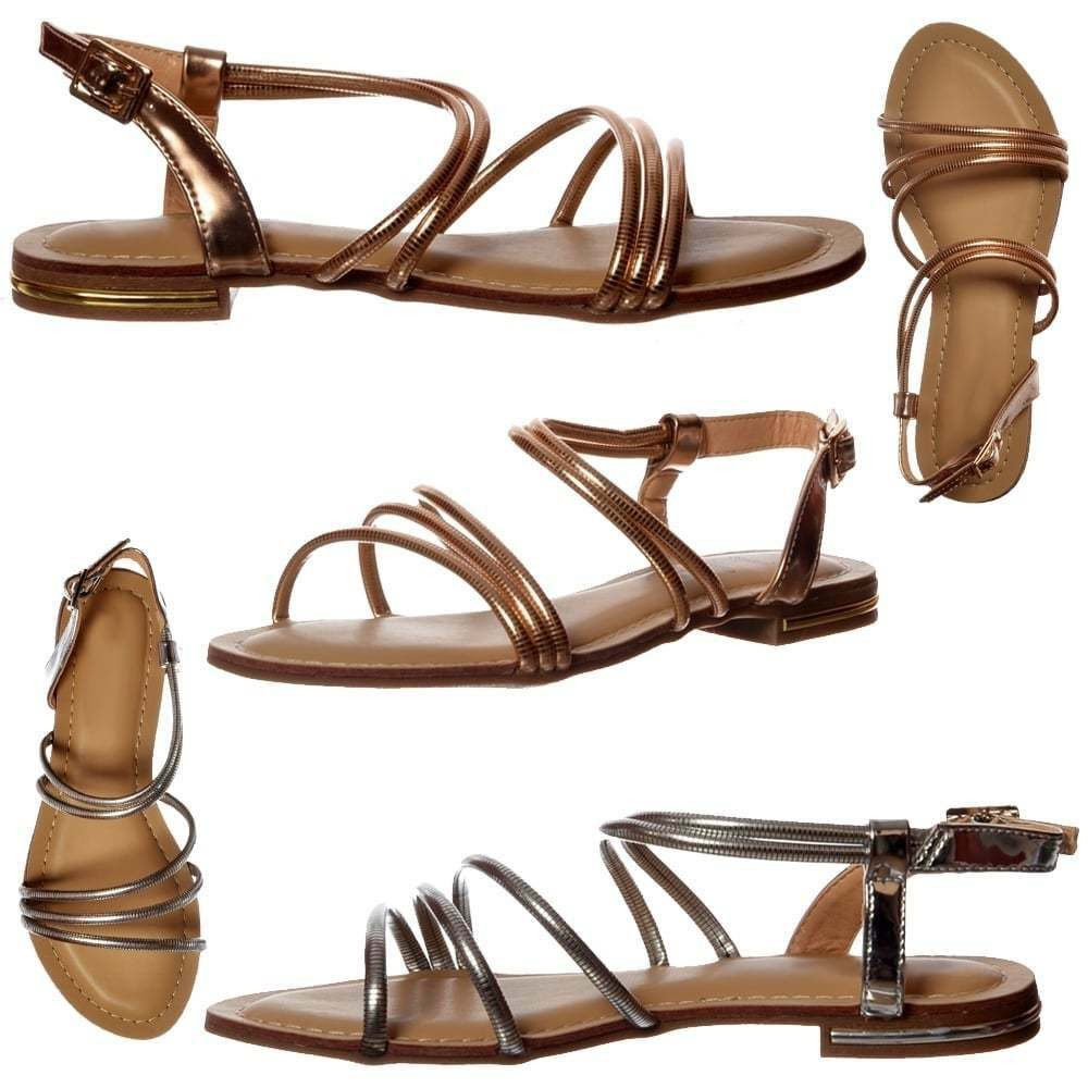 Ladies Girls Flat Shoes Summer Dress Sandals Strappy Shoes Flat Flats Rose Gold Silver Size 0388c8