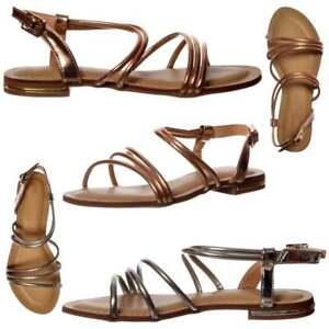 DONNE RAGAZZE Basse vestito estivo sandali Scarpe con Cinturino Rosa Dorato