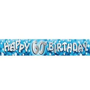 12-FT-ca-3-66-m-lunga-60th-Blu-Compleanno-Party-Banner-OLOGRAFICA-Decorazioni-Party-Supply