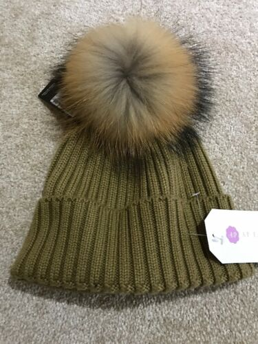 FOX FUR POM POM Chapeau Cachemire Mix