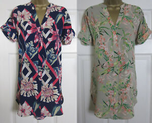 New-M-amp-S-Floral-Print-Shirt-Tunic-Top-Blouse-Short-Sleeved-Navy-Pink-Green-6-24
