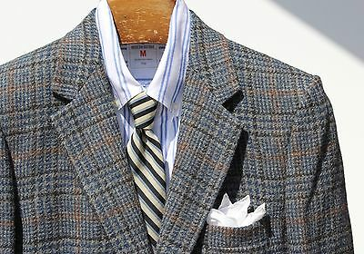 Gentleman's Vintage 38 Short Blue-Grey Check Wool Tweed Blazer / Sport Coat- USA