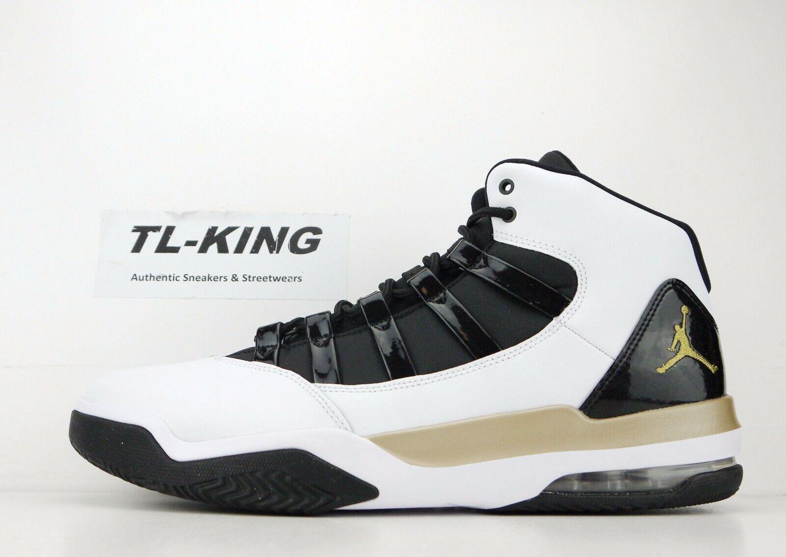 Nike Air Jordan Max Aura White Metallic gold Black AQ9084 107 Msrp  120 HW