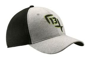 """13 Fishing """"Mr.Wilson"""" Flex-Fit Cap, Grey with Lime Green Logo"""