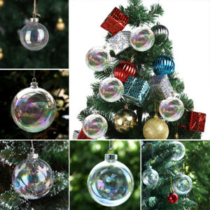 Ebay Christmas Baubles.Details About Fillable 8cm Glass Ball Christmas Baubles Party Clear Transparent Hang Ornaments