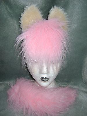 Fluttershy My Little Pony Horse Ears & Tail Pink & Cream Fancy Dress Set