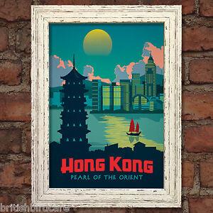 Image Is Loading HONG KONG VINTAGE RETRO TRAVEL Poster Nostalgic Home