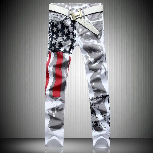 Men/'s Distressed Jeans Slim American Flag Fit Long Pants Trousers Printed Jeans
