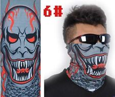 Men Grey Demond Face Pattern Neck Shield Seamless Bandana Mask Wind Protector