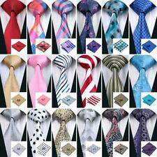 USA 300 Colors Blue Red Black Grey Green Pink Gold Silk Men's Tie Necktie Set