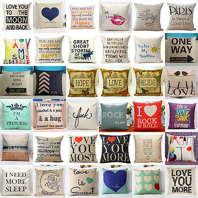 Cotton Linen Square Home Decorative Throw Pillow Case Sofa Waist Cushion Cover