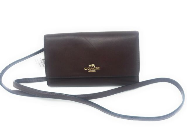 Coach 65558 Oxblood Smooth Leather Phone Wallet Crossbody Bag