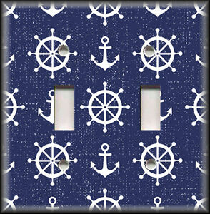 Image Is Loading Metal Light Switch Plate Cover Nautical Wheel Anchor