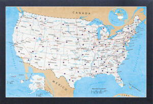 Details about ROAD MAP OF USA NORTH AMERICA 13x19 FRAMED GELCOAT POSTER on
