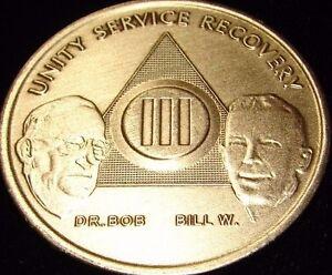 Alcoholics Anonymous AA Bill & Bob 3 Year Bronze Medallion Coin Chip Token Sober