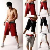 Mens 3/4 Knee Length Casual Sport Roped Baggy Pants Jogger Trousers Capri Shorts