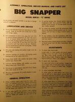 Big Snapper Riding Lawn Tractor & Mower Operators, Service & Parts Manual 12pg