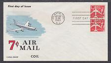 US Mel C61-9 FDC. 1960 7c red Jet Coil Pair, Fluegel Color Cachet, VF