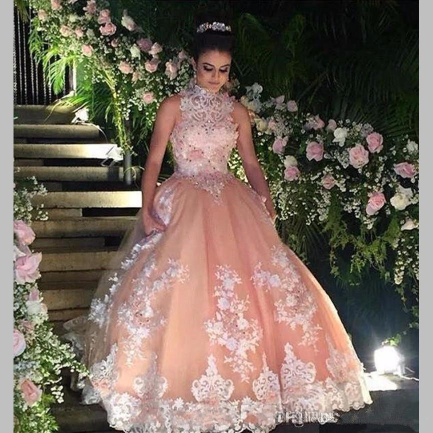 Spitze Quinceanera Kleider Hochzeit Ball Brautkleid High Neck Prom Party Kleid