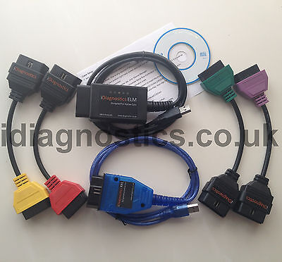 ALFA FIAT DIAGNOSTIC LEAD CABLE + ELM + KKL VAG + 4 x ADAPTERS MULTIECUSCAN UK