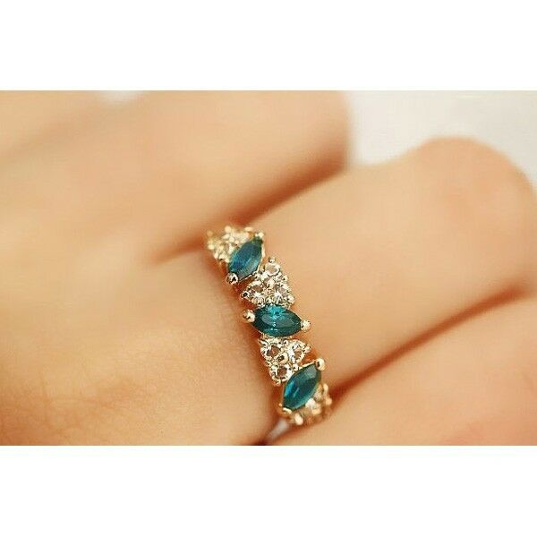 SE Novel Crystal Girls Vintage Emerald Crystal Rhinestone Finger Rings CA3