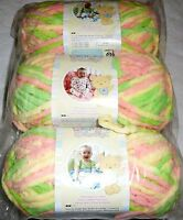 Bernat Baby Blanket Yarn Lot Of 3 - Little Sunshine (yellow,peach,green)