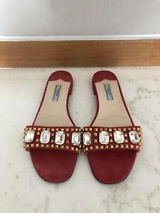 prada red suede sandals