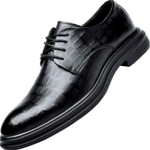 2019 Men/'s Leather Shoes Dress Formal Oxfords Lace Up Black Pointed Toe Wedding