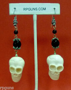 Carved-Skull-Earrings-Halloween-Costume-Macabre-Day-of-the-Dead-Creepy-Fall-NEW