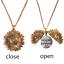 Antique Gold Open Lock Sunflower Pendant Necklace Chain Letter Free Gift Bag UK
