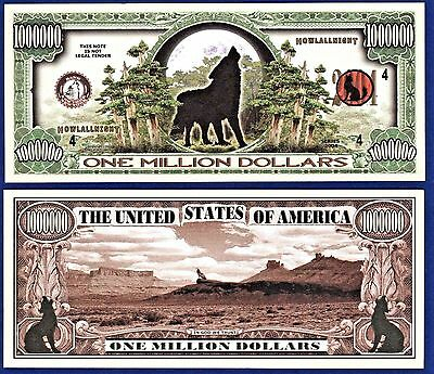 100 Wolf Howling Wolf Collectible Novelty Money Bills