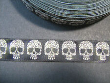 Patterned Skull Grosgrain Ribbon 2.2cm  x 1 Metre  Sewing/Costume/Crafts/Cake