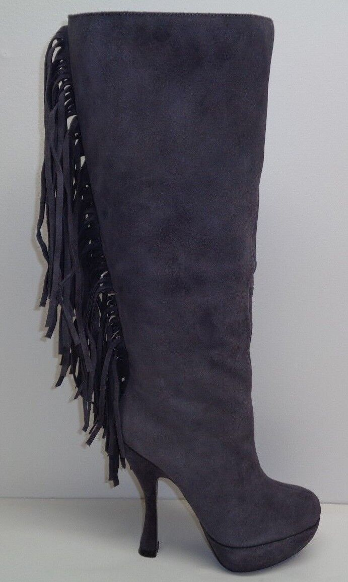 Mojo Moxy Size 6 M BEWITCHED Grey Suede Knee High Heels Boots New Womens shoes