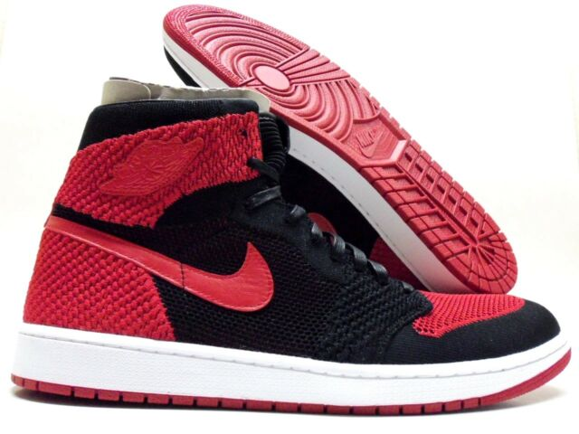 7b4731316fd Nike Air Jordan 1 Retro Hi High Flyknit Banned Bred Black-red Sz 16  919704-001