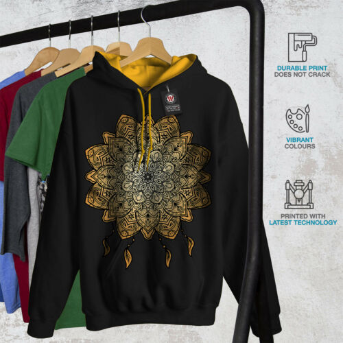 Yoga Hood Mandala gold Hoodie Men Black New Contrast wd6q8dSF