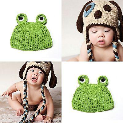 Newborn Baby Beanies Hats Caps Crochet Handmade Wool Animal Cosplay Photo Prop